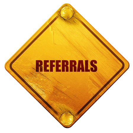 referrals: referrals, 3D rendering, yellow road sign on a white background Stock Photo