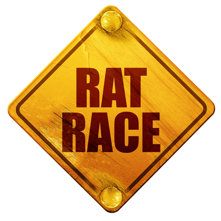 downshift: rat race, 3D rendering, yellow road sign on a white background Stock Photo