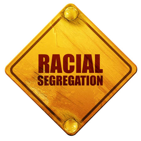 segregation: racial segragation, 3D rendering, yellow road sign on a white background