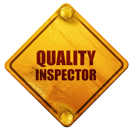 inspector: quality inspector, 3D rendering, yellow road sign on a white background Stock Photo