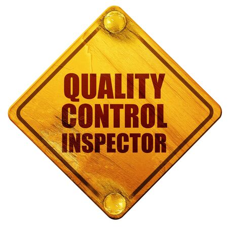 inspector: quality control inspector, 3D rendering, yellow road sign on a white background