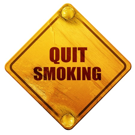 quit: quit smoking, 3D rendering, yellow road sign on a white background