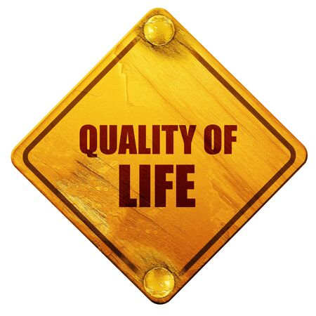 quality of life: quality of life, 3D rendering, yellow road sign on a white background