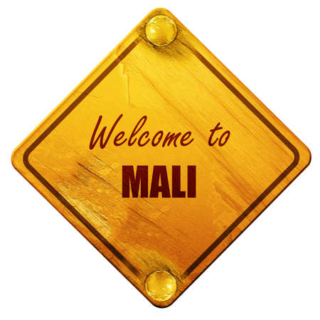 mali: Welcome to mali card with some soft highlights, 3D rendering, yellow road sign on a white background Stock Photo