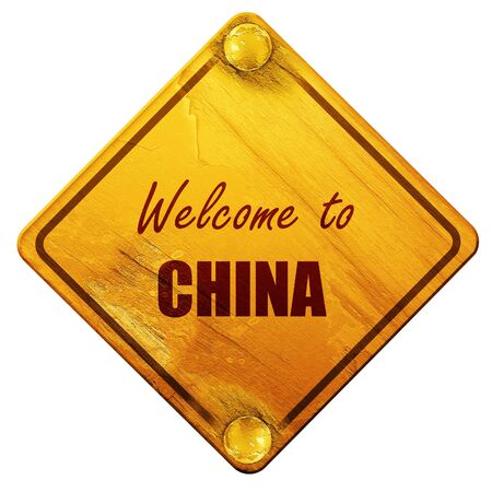 yellow china: Welcome to china card with some soft highlights, 3D rendering, yellow road sign on a white background