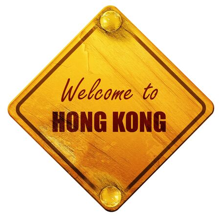 hong kong street: Welcome to hong kong card with some soft highlights, 3D rendering, yellow road sign on a white background