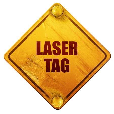 laser tag: laser tag sign background with some soft smooth lines, 3D rendering, yellow road sign on a white background Stock Photo