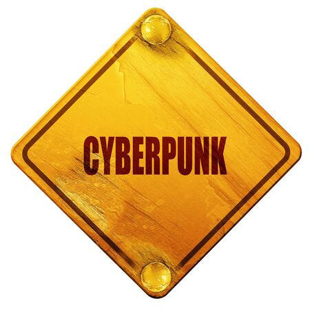 cyberpunk: cyberpunk, 3D rendering, yellow road sign on a white background Stock Photo