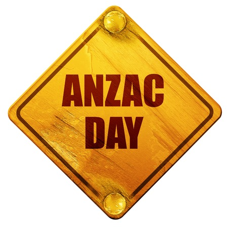 returned: anzac day, 3D rendering, yellow road sign on a white background Stock Photo