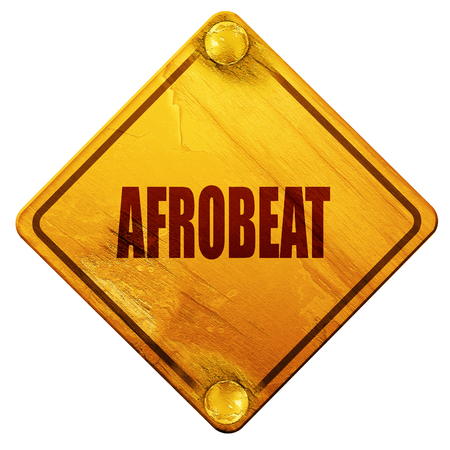 troy: afrobeat music, 3D rendering, yellow road sign on a white background