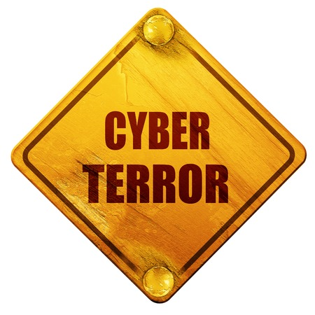 stalking: Cyber terror background with some smooth lines, 3D rendering, yellow road sign on a white background Stock Photo