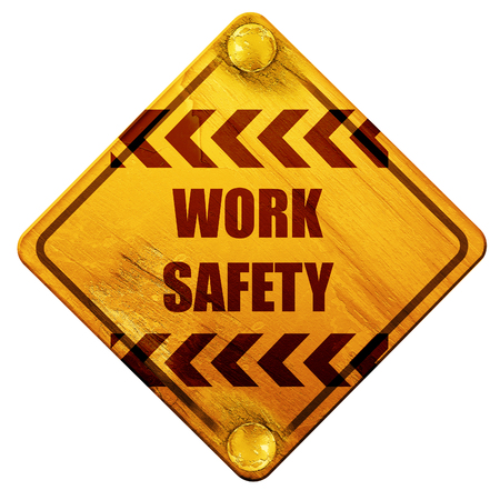cray: Work safety sign with some soft smooth lines, 3D rendering, yellow road sign on a white background