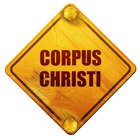 tx: corpus christi, 3D rendering, yellow road sign on a white background