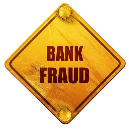 scammer: Bank fraud background with some smooth lines, 3D rendering, yellow road sign on a white background