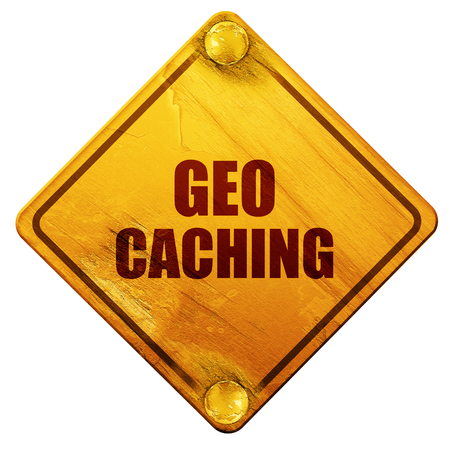 caching: geocaching sign background with some soft smooth lines, 3D rendering, yellow road sign on a white background Stock Photo
