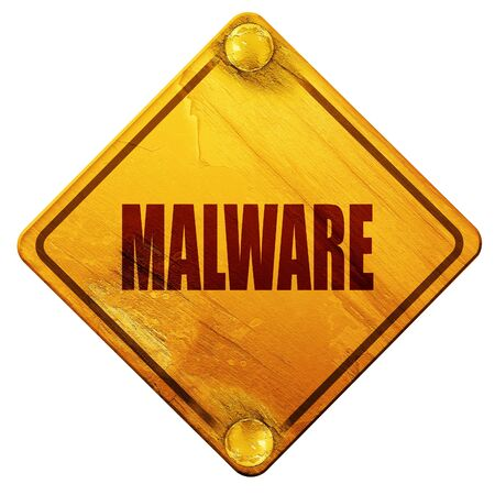 threat: Malware removal background with some soft smooth lines, 3D rendering, yellow road sign on a white background Stock Photo