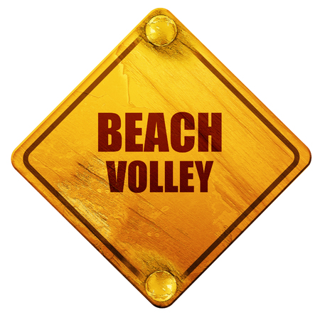 beach volley: beach volley sign with some soft smooth lines, 3D rendering, yellow road sign on a white background Stock Photo