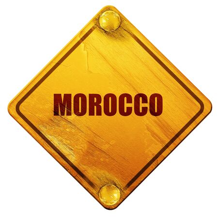 isolation: Greetings from morocco card with some soft highlights, 3D rendering, yellow road sign on a white background