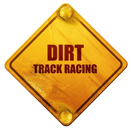 racing sign: dirt track racing with some soft smooth lines, 3D rendering, yellow road sign on a white background