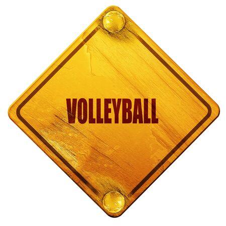 volleyball teken achtergrond met sommige zachte vloeiende lijnen, 3D-rendering, gele verkeersbord op een witte achtergrond Stockfoto