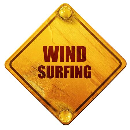 wind surfing: wind surfing sign background with some soft smooth lines, 3D rendering, yellow road sign on a white background