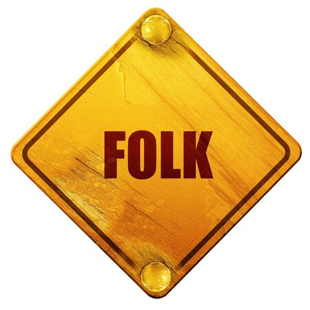 music 3d: folk music, 3D rendering, yellow road sign on a white background Stock Photo