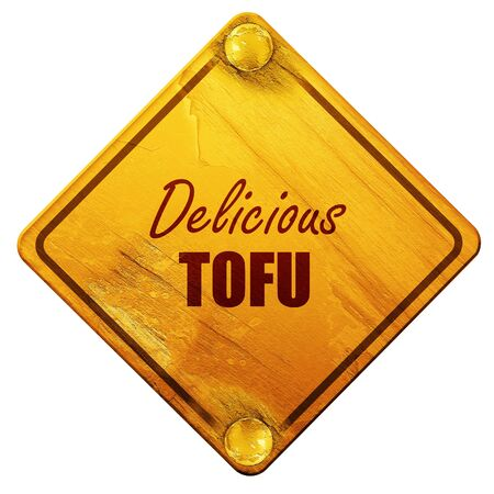 tofu: Delicious tofu sign with some soft smooth lines, 3D rendering, yellow road sign on a white background