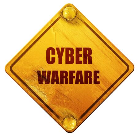 penetrate: Cyber warfare background with some smooth lines, 3D rendering, yellow road sign on a white background Stock Photo