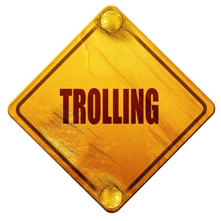 trolling: Trolling internet background with some soft smooth lines, 3D rendering, yellow road sign on a white background