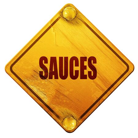 sauces: Delicious sauces sign with some soft smooth lines, 3D rendering, yellow road sign on a white background Stock Photo