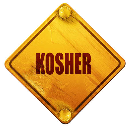 kosher: Delicious kosher food with some soft smooth lines, 3D rendering, yellow road sign on a white background
