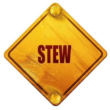 stew: Delicious stew sign with some soft smooth lines, 3D rendering, yellow road sign on a white background Stock Photo
