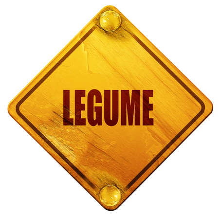 legume: Delicious legume sign with some soft smooth lines, 3D rendering, yellow road sign on a white background Stock Photo