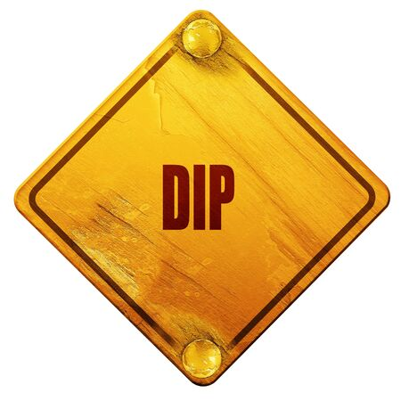 dip: Delicious dip sign with some soft smooth lines, 3D rendering, yellow road sign on a white background