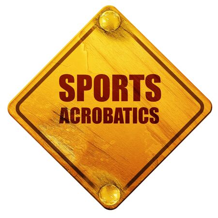 acrobacia: sports acrobatics sign background with some soft smooth lines, 3D rendering, yellow road sign on a white background