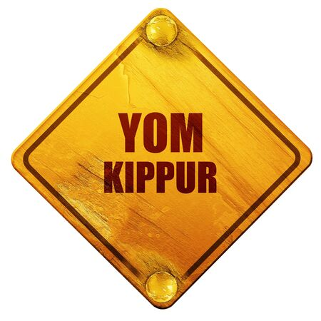 yom kippur: yom kippur, 3D rendering, yellow road sign on a white background
