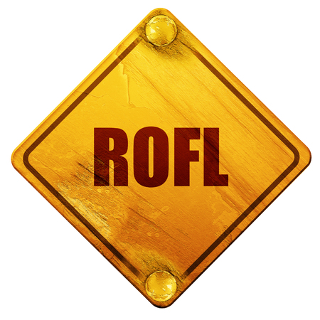slang: rofl internet slang with some soft smooth lines, 3D rendering, yellow road sign on a white background