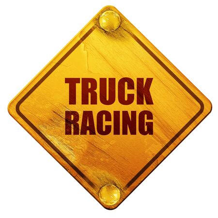 racing sign: truck racing background with some soft smooth lines, 3D rendering, yellow road sign on a white background Stock Photo