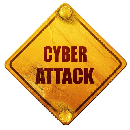 cyberwarfare: Cyber warfare background with some smooth lines, 3D rendering, yellow road sign on a white background Stock Photo