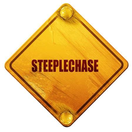 steeplechase: Steeplechase sign background with some soft smooth lines, 3D rendering, yellow road sign on a white background