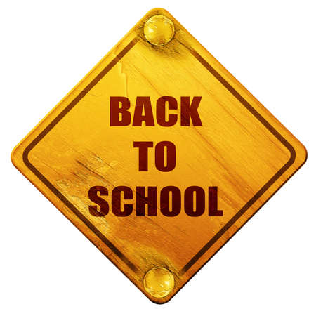 returned: back to school sign with some smooth lines, 3D rendering, yellow road sign on a white background