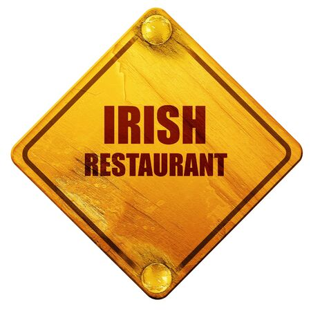 irish pub label design: Delicious irish cuisine with some smooth lines, 3D rendering, yellow road sign on a white background