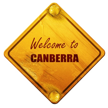 canberra: Welcome to canberra with some smooth lines, 3D rendering, yellow road sign on a white background Stock Photo