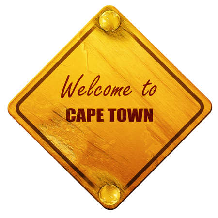 cape town: Welcome to cape town with some smooth lines, 3D rendering, yellow road sign on a white background Stock Photo
