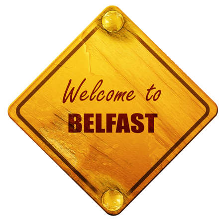 belfast: Welcome to belfast with some smooth lines, 3D rendering, yellow road sign on a white background Stock Photo