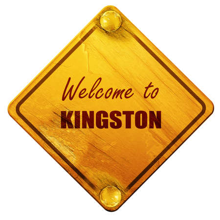kingston: Welcome to kingston with some smooth lines, 3D rendering, yellow road sign on a white background
