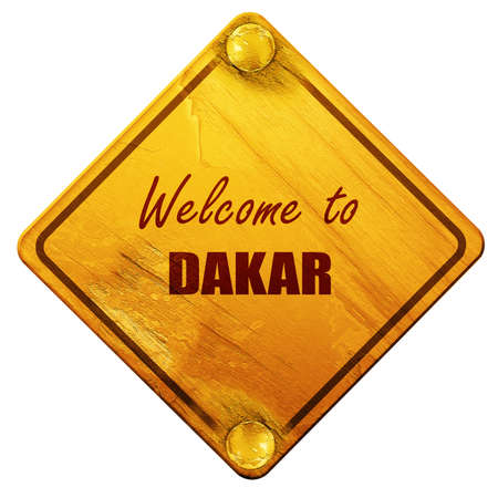dakar: Welcome to dakar with some smooth lines, 3D rendering, yellow road sign on a white background