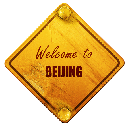 beijing: Welcome to beijing with some smooth lines, 3D rendering, yellow road sign on a white background