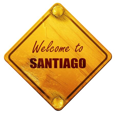 santiago: Welcome to santiago with some soft smooth lines, 3D rendering, yellow road sign on a white background Stock Photo