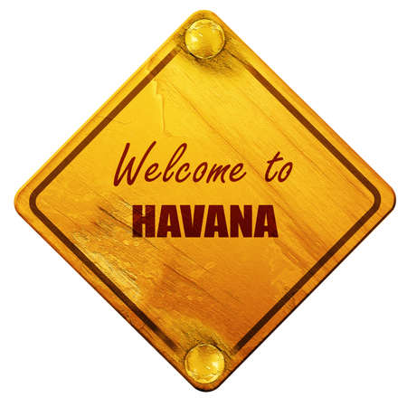 havana: Welcome to havana with some smooth lines, 3D rendering, yellow road sign on a white background